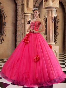 Coral Red Floor-length Tulle Beaded Sweet Sixteen Dresses