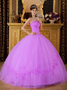 Hot Sweetheart Tulle Quinceanera Gown Dresses with Appliques