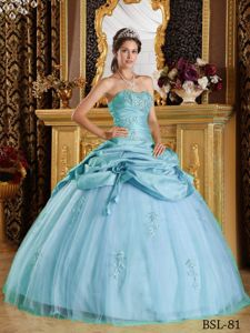 Baby Blue Taffeta and Tulle Quinceanera Dresses with Appliques