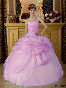 Multi-tiered Baby Pink Princess Organza Dresses For a Quince