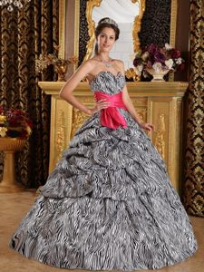 Most Popular Non-traditional Sweetheart Zebra Quinceanera Dress For sale