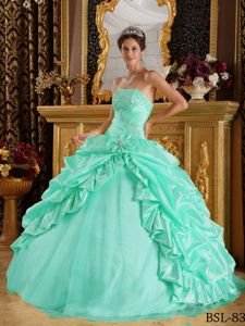 Recommended Special Design Apple Beading Green Quinceanera Dress
