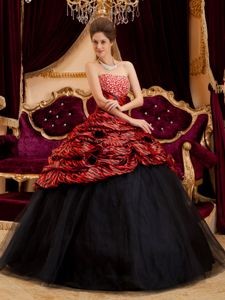 2014 Sexy Red and Black Strapless Zebra and Tulle lady gaga style Quinceanera Dresses