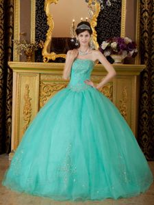 Noble Turquoise Organza Strapless Quinceanera Dress with Beadings