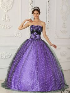 Fashionable Design Black and Purple Quinceanera Dress with Dotted tulle