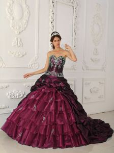 Sweetheart Medium Violet Red Appliques Quinceanera Dresses Wholesale