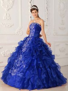 Exquisite Embroidery Royal Blue Ball Gown Dresses For a Quinceanera