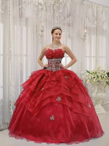 Organza Layers Quinces Dress in Red with Beading and Appliques
