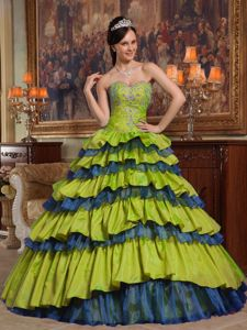 Multi-colored Sweetheart Quinces Dress Ball Gown with Beading