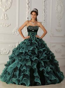 Ball Gown Dress for Quinces with Beading in Dark Green and Black