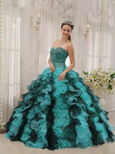 Fitted Multi-color Floor-length Quinces Dress with Beading