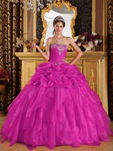 Dropped Quinces Gown with Appliques with Beading in Fuchsia