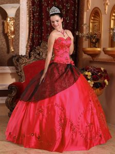 Coral Red and Black Quince Dress with Embroidery with Beading