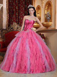 Tulle Ruffles Sweet 16th Dress in Coral Red with Beading