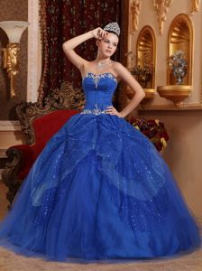 Blue Floor-length Quinceanera Gown with Tulle and Sequins