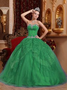 Green Ball Gown Dress for 15th with Beading and Appliques