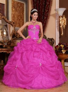 Ball Gown Sweetheart Quinces Gown with Beading in Organza