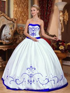White and Royal Blue Quinceanera Dresses with Embroidery