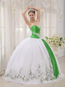 White and Green Sweetheart Quinces Dress with Embroidery
