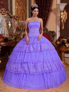 Organza and Lace Appliqued Sweet 15th Dress in Lilac for 2013