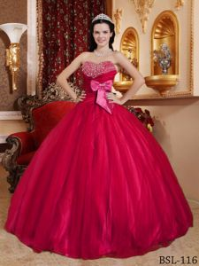 Beaded Quinces Dress in Red with Tulle and Taffeta Fabric