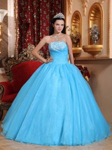 Strapless Baby Blue Dresses for Quinceanera with Appliques