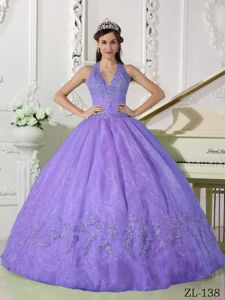 Appliqued Sweet 15th Dresses in Lavender with Halter-top