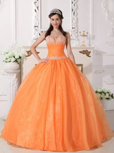 Exclusive Dresses For a Quinceanera with Beading in Orange