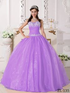 Taffeta and Organza Quinces Dress in Purple with Appliques