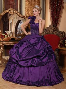 One Shoulder Dark Purple Dresses for Quince with Beading