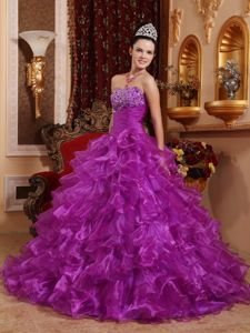 Beaded Floor-length Quinces Dress in Purple with Organza