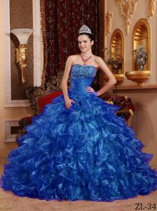 Beading Royal Blue Strapless Ruffled Dress For Quinceaneras