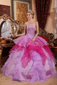 Purple and Fuchsia Quinceanera Gowns with Ruched Bodice