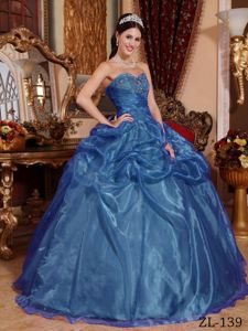 2013 Sweetheart Beading Blue Quinceanera Gowns Dresses