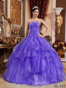 Purple Strapless Beaded Sweet 15 Dresses with Ruffled Layered