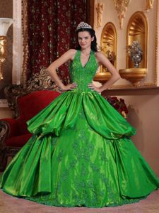 Halter Appliques Dresses For 15 in Hunter Green with Ruffles