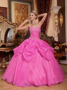 Dresses For a Quince Sweetheart and Appliques in Rose Pink