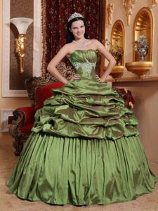 Olive Green Strapless Ruffles Appliques Quinceanera Dresses