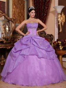 Lilac Strapless Sweet 15 Dresses in Organza with Beading