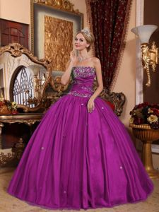 2013 Purple Strapless Taffeta and Tulle Quinceanera Downs