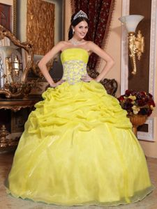 Quinceanera Gown Dresses Strapless in Yellow with Appliques