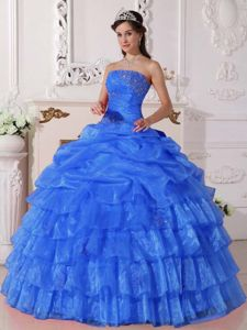 Organza Blue Strapless Ruffled Layers Quinceanera Dresses