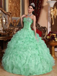Cute Apple Green Quinceanera Gowns With Beaded and Pleated Bust