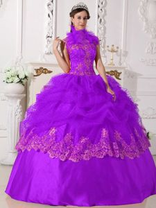 Project Runway Purple Halter Top Quinceanera Dress with Appliques and Glitters
