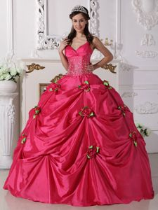 Hot Pink Spaghetti Straps Beaded Quinceanera Gowns with Flowers