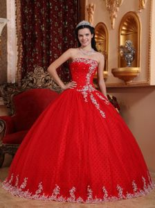 Coral Red Strapless Full-length Quinceanera Gowns with Dotted Fabric