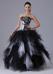 Black and White Quinceanera Dress With Embroidery and Ruffles