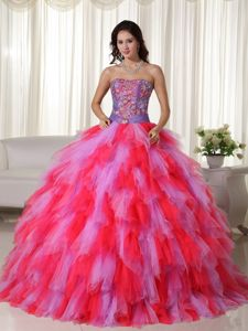 Venice Film Festival Multi-colored Strapless Dress For Quinceaneras with Appliques