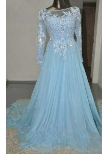 Long Sleeves Appliques and Belt Zipper Mother of Groom Dress with Baby Blue Court Train