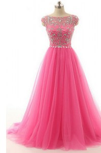 On Sale Lace Floor Length A-line Short Sleeves Hot Pink Mother Dresses Zipper